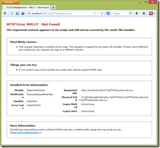 IIS Error in Browser - HTTP Error 404.17 - Not Found, The requested content appears to be script and will not be served by the static file handler.