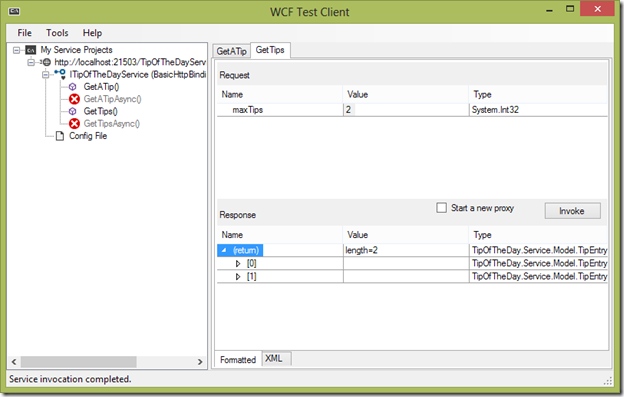 Invoke service from WCF Test Client