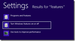 Turn Windows Features on or off - Windows 8